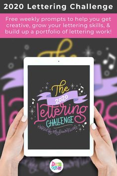 The 2020 Lettering Challenge: Weekly prompts to help you get creative, grow your lettering skills, and build up a portfolio! Hand Drawn Lettering, Brush Lettering, Creative Lettering, Creative Art, Creative Ideas, Songs With Meaning, Bullet Journal Printables, Craft Tutorials, Craft Ideas