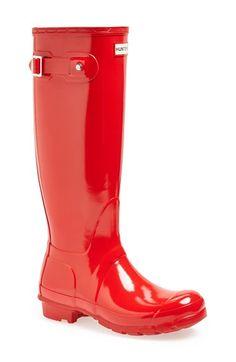 Women's Hunter Original High Gloss Boot Pillar Box Red Gloss