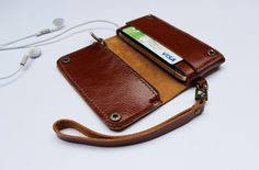 Brown Bifold leather iPhone wallet wristlet by AwesomeWomen