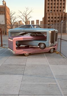 """""""Auto Aerobics"""": Chris Labrooy creates crazy digital sculptures made of retro cars Weird Cars, Cool Cars, Chris Labrooy, Instalation Art, Car Humor, Funny Humor, Aerobics, Public Art, Counting Cars"""