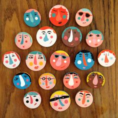 Image of Hand Painted Face Brooches Diy Clay, Clay Crafts, Diy And Crafts, Crafts For Kids, Clay Art For Kids, Shiny Happy People, Illustration, Ceramic Clay, Art Club