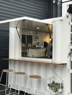 Shipping container cafe fitout Little Alchemy Specialty Coffee Cafe Shop Design, Coffee Shop Interior Design, Small Cafe Design, Kiosk Design, Shipping Container Cafe, Container Coffee Shop, Mini Cafe, Container Restaurant, Small Coffee Shop
