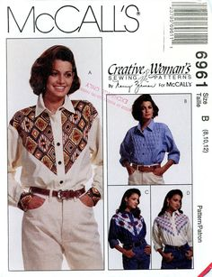 Sewing Pattern - Misses 1994 Shirts with Yoke Variations, McCall's 6961 Sizes 8-12