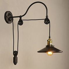 BAYCHEER HL410692 Industrial Adjustable Gooseneck Wall Mounted Lamp Pulley Wall Lamp Wheel Wall Light with 1 light - - Amazon.com