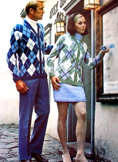 60s fashion. Men's and women's argyle sweaters.