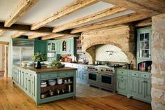 Love the turquoise cabinets ad grand wooden beams give this kitchen a wide open, grand look Do you need a little inspiration for your kitchen? These French country kitchens are all stunning examples of country farmhouse style decor. Country Kitchen Designs, French Country Kitchens, French Country Decorating, Country French, Kitchen Country, French Cottage, Kitchen Rustic, Country Style, Primitive Kitchen Cabinets