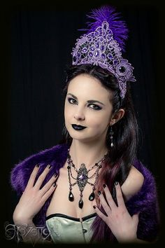 Gothic Burlesque Headdress Coronet Purple Lace Sequins by Hexotica, $119.99
