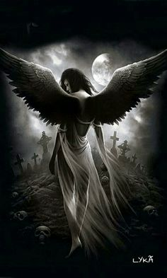 A GOTHIC ANGEL IN A GOTHIC CEMETERY  (GIF).
