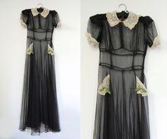 V I N T A G E Art Deco Nuit Noire Gown.