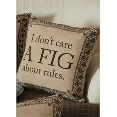 """Downton Abbey Life """"Don't Care a Fig About Rules"""" British Decorative Damask Square Throw Pillow"""