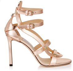 395577ba42d Jimmy Choo MOTOKO 100 Tea Rose Mirror Leather Sandals with Gold Studs - Rose  Gold heels