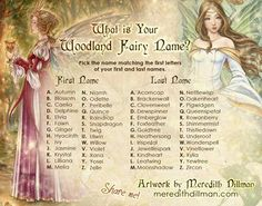 To celebrate 10,000 fans @[35427231898:274:The Art of Meredith Dillman] I have a fun little game - Find out what your Woodland FAIRY NAME is...