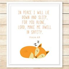 INSTANT DOWNLOAD, Psalm 4:8, Bible Verse Print, Printable Wall Art, Woodland Decor, Scripture Print, Fox Decor, Nursery Art, coffeeandcoco trendy family must haves for the entire family ready to ship! Free shipping over $50. Top brands and stylish products