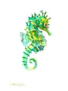 Green Sea Horse Original watercolor painting 12 X by ORIGINALONLY