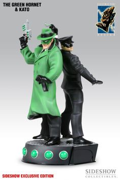 Polystone Statue - Electric Tiki - Green Hornet and Kato (alternate paint deco, with a vibrant green color for Green Hornet's distinctive costume, and a lighter wash for Kato) #2752