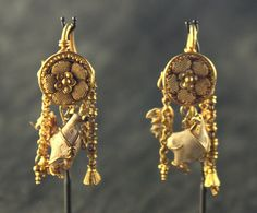 Roman Gold Rooster Earrings  Gold and enamel 200 BC