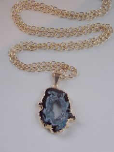 Geode Slice Pendant Necklace on a Gold Fill by MalieCreations
