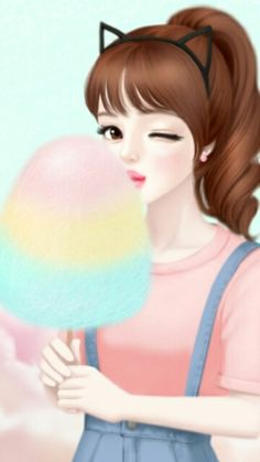 For who love anime Cartoon Girl Images, Cute Cartoon Girl, Anime Girl Cute, Anime Art Girl, Cute Girl Drawing, Cartoon Girl Drawing, Cute Girl Illustration, Anime Korea, Wallpaper Fofos