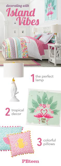 It's all about island style! A fun lamp, colorful decor and animal print pillows transform any room into a tropical paradise.