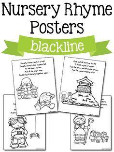 Nursery Rhyme Posters in blackline: Free printables