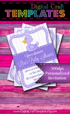 Personalized Printable Invitations | Purple Duck | Baby Shower | Birth Announcement |  #308