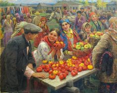 Сычков Федот. «Колхозный базар». 1936 г.