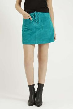 Lace-Up Suede Skirt - Topshop