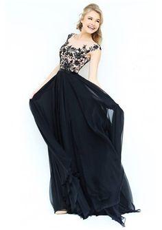 2016 Classic Black Bateau Empire Evening Dresses - Promgirlshop.com for mobile
