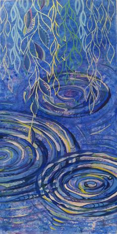 "www.kathyfergusonart.com. Kathy Ferguson. ""Ripples"" 2012. Mixed Media on panel. 32"" x 16"". Copyrighted by artist. ""Ripples"" is about the impact a small thing (like a drop of water) can have on the environment around it. Pay it forward!"