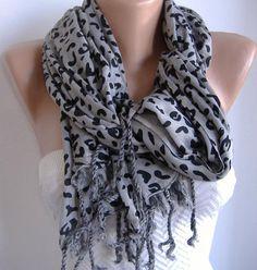 Leopard and Elegance  Cotton Shawl  Scarf  Headband  by womann, $13.50