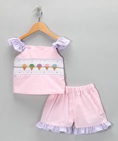 ice cream cone pictures smocking on searsucker shorts outfit