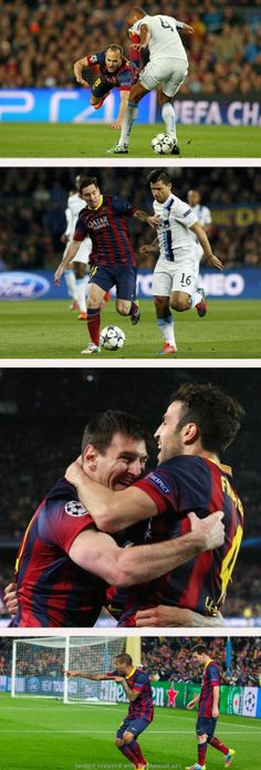 Iniesta with his usual all-out effort; Messi moves in attack; Cesc and Leo celebrate Messi's goal (1-0); Alves following his goal at 90:00 to make it a 2-1 victory, 4-1 on aggregate.
