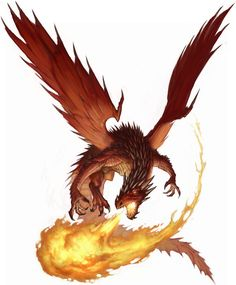 The red dragon is known as the king of the chromatic dragons, and few creatures can match its cruelty. All red dragons can breath fire, and as they age, they gain more and more control over flames. The oldest are even able to take control of an enemy spel