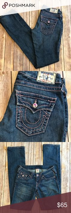 "True Religion jeans - 24/33"" inseam medium wash I pink stitching I EUC True Religion Jeans Straight Leg"