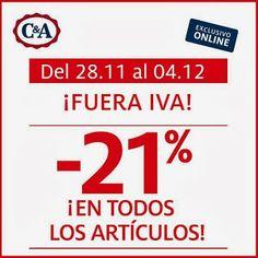 Hasta el 4 de diciembre de 2014 en C&A te descuentan el importe del IVA en tus compras. Un 21% en el total de tus compras sin límite en las mismas.  Promoción válida para España hasta 04/12/2013.  Más información aquí: http://www.baratuni.es/2013/09/cupones-descuento-cya-dias-sin-iva.html  #descuentos #cupones #cuponesdescuento #cya #baratuni #moda #ropa #accesorios