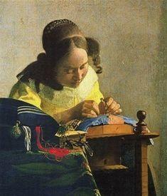 """peinture hollandaise : Johannes Vermeer, 1669, """"La dentellière"""", 1660s, 17e siècle, artisanat"""
