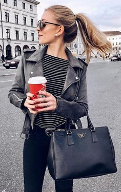 Black Leather Jacket + Striped Tee Source