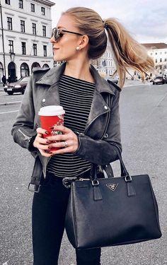 Black Leather Jacket + Striped Tee                                                                             Source