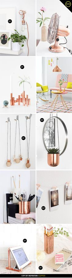 Gold and silver have been my main metals in the past, but something is super chic about copper details. I added a few copper hardware touches in these DIY projects, and it think it's time try out a li (plants in the house) Room Inspiration, Interior Inspiration, Design Inspiration, Deco Pastel, I Spy Diy, Deco Rose, Ideias Diy, Home And Deco, Diy Room Decor