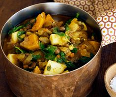 Infused with curry spices and chock-full of wilted spinach, butternut squash and sweet chunks of apple, this unique lentil stew is fragrant and flavorful beyond belief.