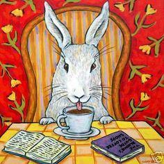 bunny rabbit coffee shop picture pet art tile coaster