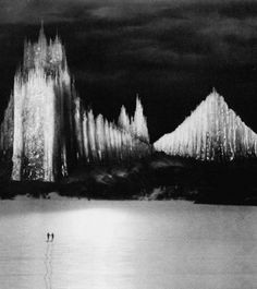 """The Holy Mountain's """"Cathedral of Ice"""" (1926, dir. Arnold Fanck) (via) The 50 ft. tall cathedral was constructed from ice painstakingly shaped for months on an armature of metal pipes."""
