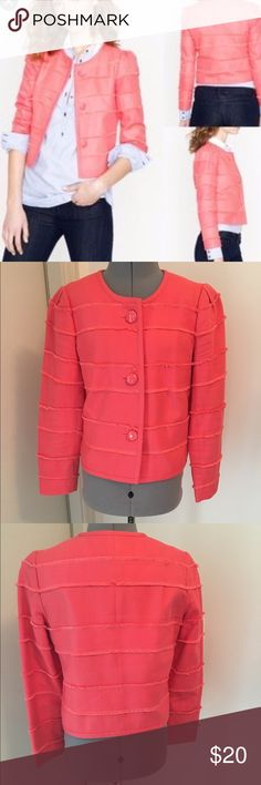 Jcrew cropped fray coral blazer This coral frayed cropped blazer is perfect for anytime of the year! The jacket hits at high hip and bracelet length sleeves.  The paint on the buttons has chipped from having it dry cleaned. I tried to show this in the pictures. I think it gives it a more interesting look for such a beautiful jacket. J. Crew Jackets & Coats Blazers