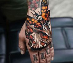Skull and Moth tattoo by A.d. Pancho