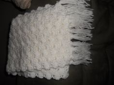white handmade scarf with fringe very warm by EMTWTT on Etsy, $22.00