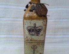 Unicat: Sticlă vintage decorată și pictată manual