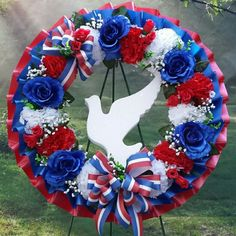 Cemetery Wreath Red White and Blue Cemetery Flowers Funeral Floral Arrangements, Summer Flower Arrangements, Flower Vases, Flower Pots, Grave Flowers, Cemetery Flowers, Memorial Day Wreaths, Memorial Flowers, Funeral Spray Flowers