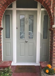 41 Ideas house decor exterior front doors for 2019 Arched Front Door, Victorian Front Doors, Front Door Porch, Grey Front Doors, Porch Doors, Front Door Entrance, Exterior Front Doors, House Front Door, Painted Front Doors