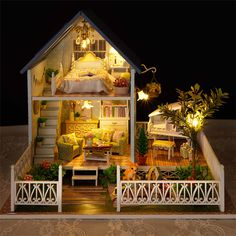 Wooden Dollhouse Furniture Kit Miniature Nordic Villa Craft Model DIY Doll House With LED Lights And Music Birthday Xmas Gift Dollhouse Furniture Kits, Dollhouse Toys, Wooden Dollhouse, Dollhouse Miniatures, Miniature Crafts, Miniature Houses, Miniature Dolls, Deco Studio, Europe Holidays