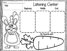 FREEBIE: Use with your Listening Center. Students fill in the title, author, beginning, middle, end and their favorite part!